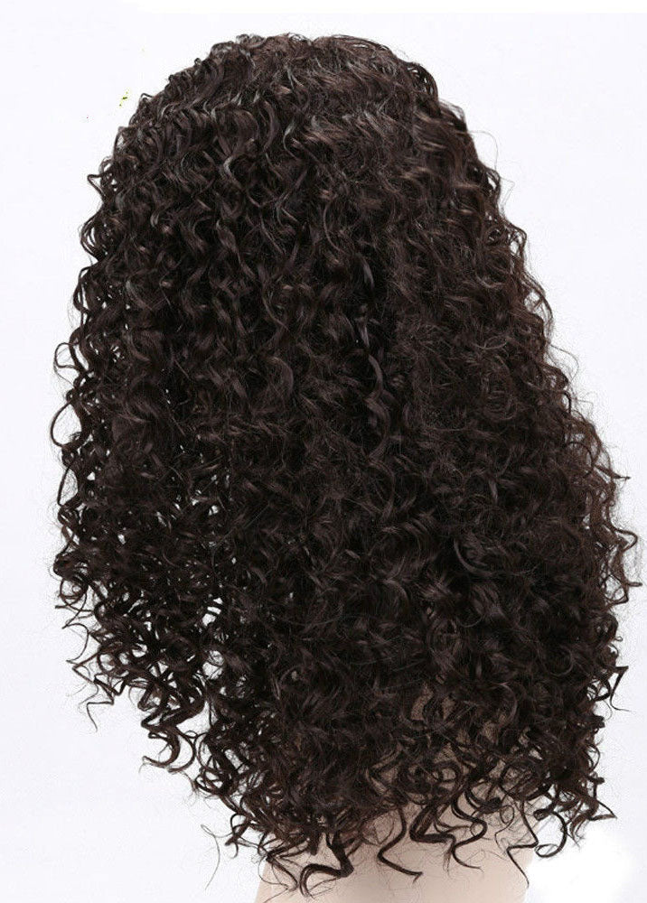 Black Long African Curly Capless Synthetic Hair 22 Inches Wigs