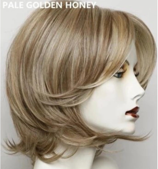Ladies Short Straight Hair Bobo Hairstyle Synthetic Wigs With Side Part Bangs