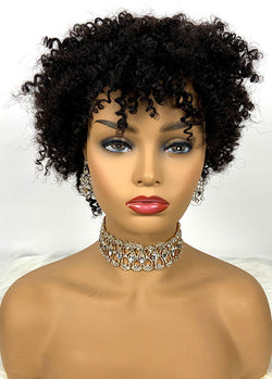Afro Wig Human Hair Short Black Curly Wigs For Women