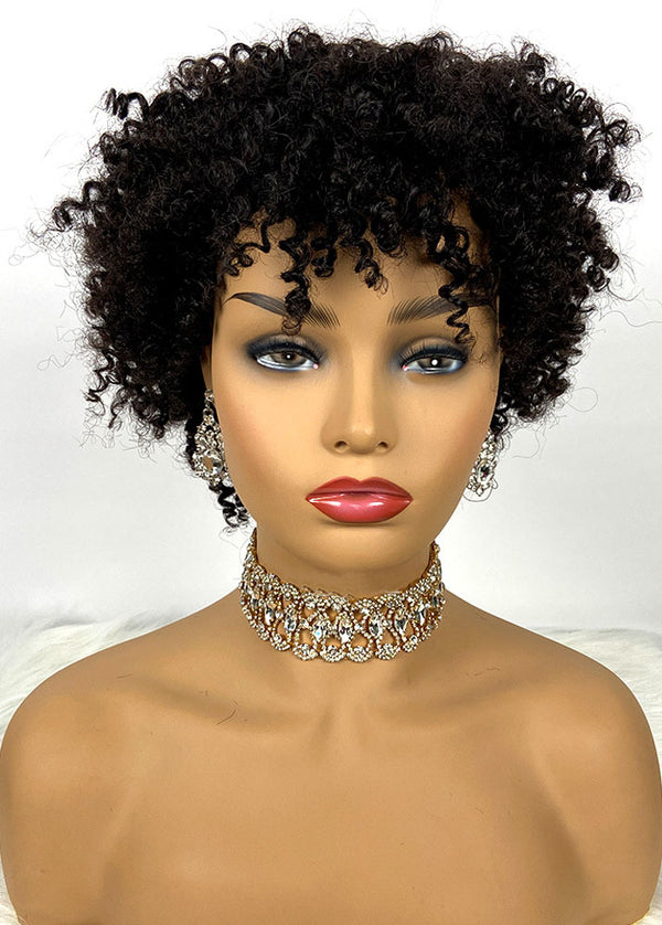Cheap Afro Wig Human Hair Short Black Curly Wigs For Women