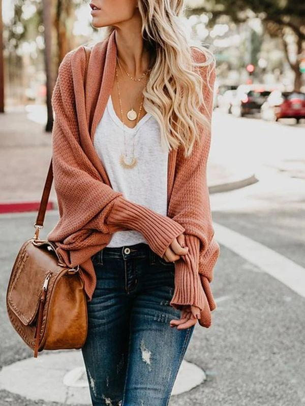 Brick Red Loose Mid-Length Cardigan Women's Sweater
