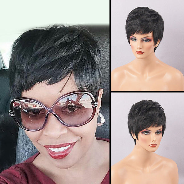 America Africa Hairstyle Natural Black Short 6 Inches Straight Human Hair Wigs