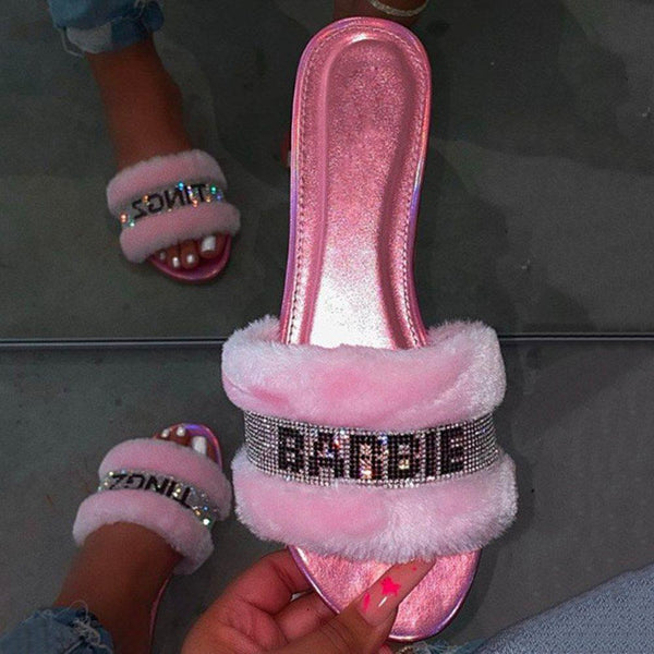 Flat With Slip-On Rhinestone Flip Flop PVC Letter Slippers