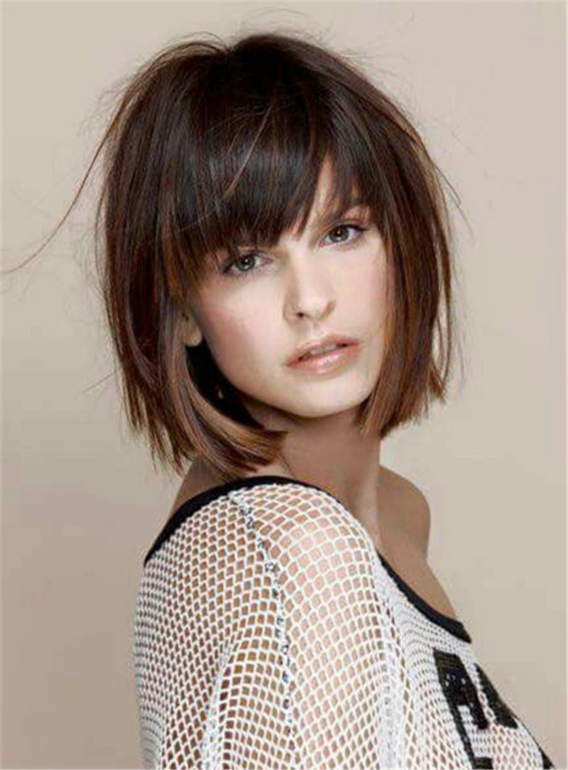 Short Straight Bob With Bangs Human Hair Women 10 Inches Wigs