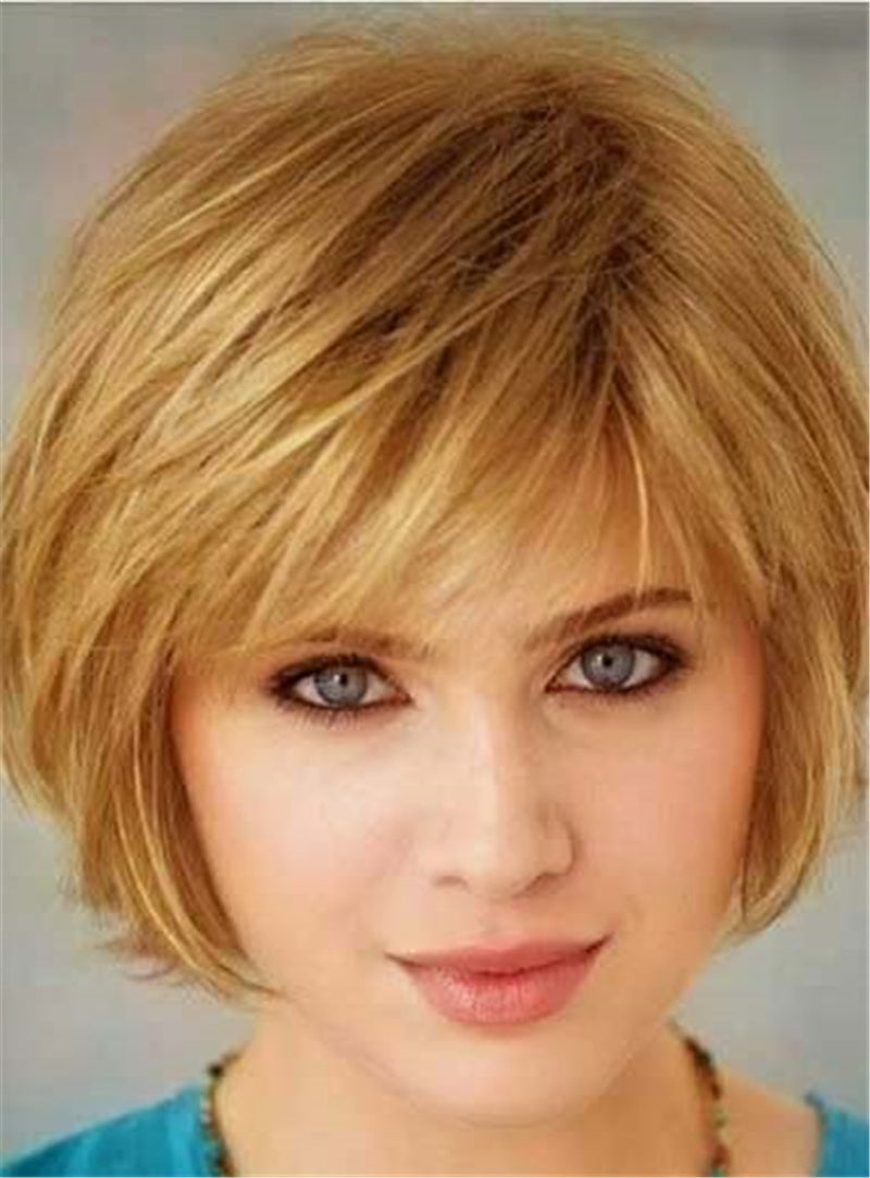 Straight Bob Human Hair Blend Short Capless Wigs 8 Inches