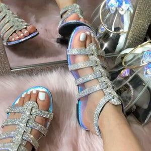 Line-Style Buckle Round Toe Flat With Rhinestone Casual Sandals