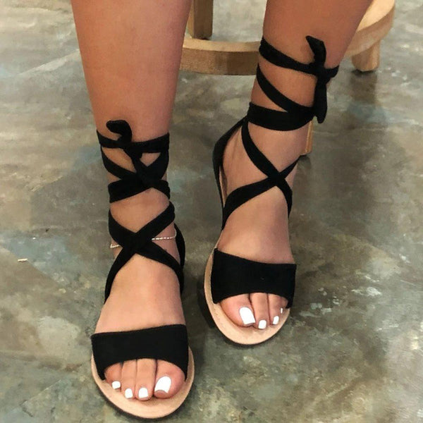 Open Toe Heel Covering Lace-Up Flat With Plain Sandals