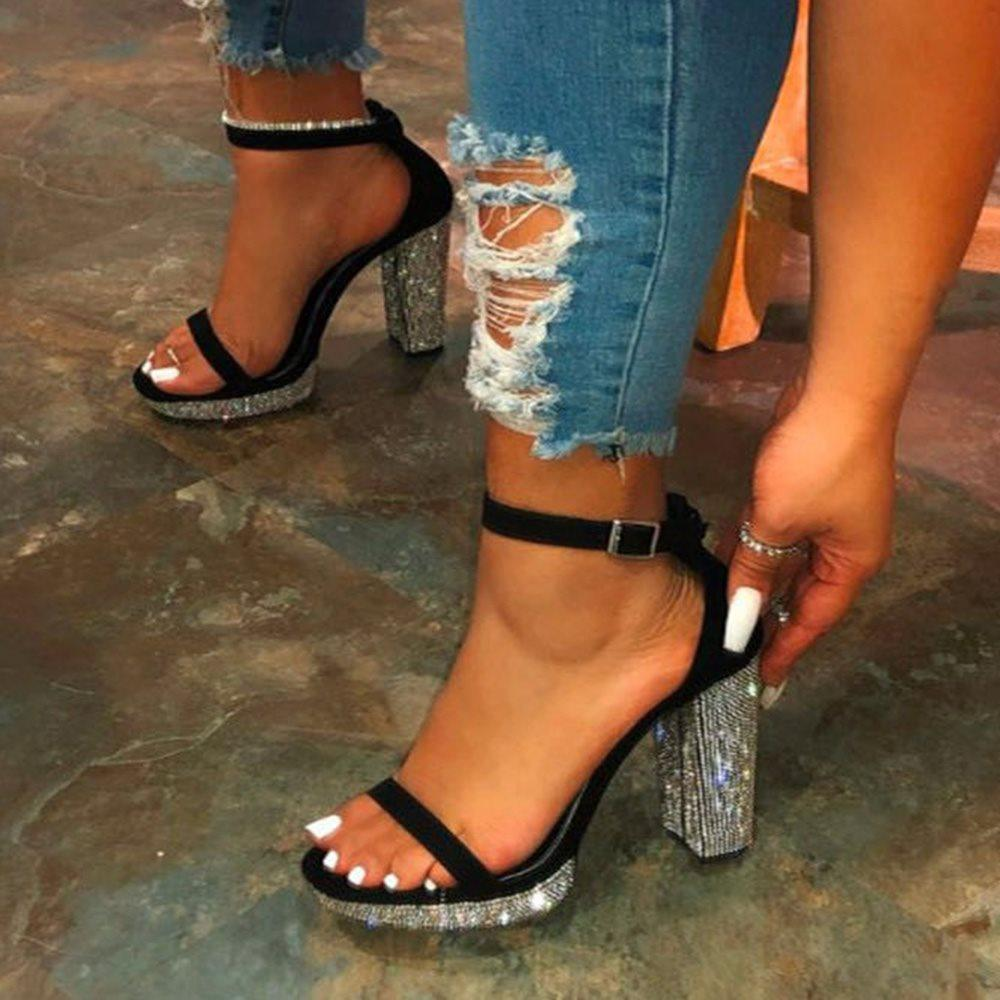Open Toe Chunky Heel Buckle Casual Professional Sandals