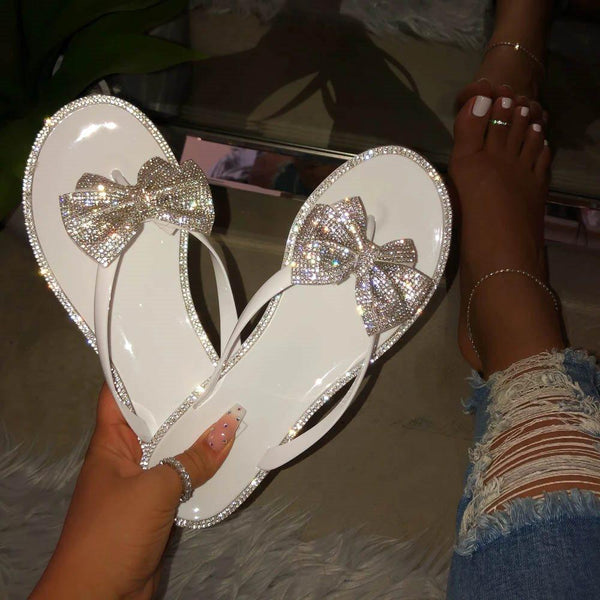 Thong Flat With Slip-On Bow PVC Slippers