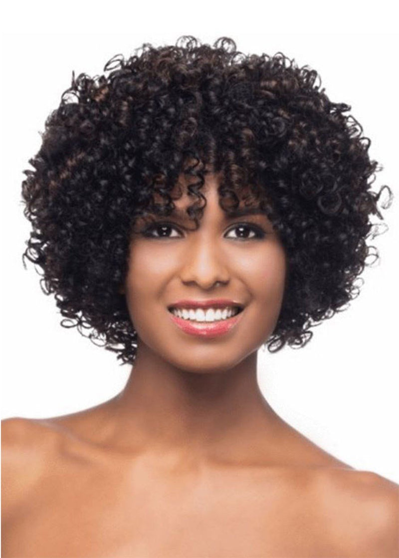 Women Synthetic Hair Curly Capless 14 Inches Wigs For Black Women