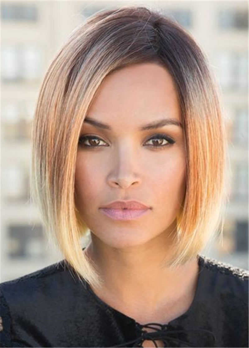 Bob Medium Straight Synthetic Hair Capless Wigs 10 Inches