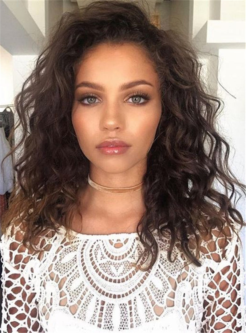 Brown Fluffy Messy Soft Natural New Arrival Sweet Synthetic Hair Lace Front Curly Wigs 16 Inches