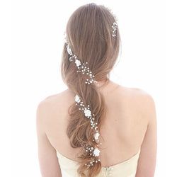 Bridal Flower Hair vine Extra Long Crystal and Pearl headpiece Floral hair piece Wedding wreath for bride Hair Accessories wedding headband
