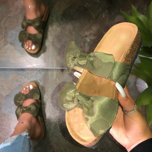 Flip Flop Flat With Bow Slip-On Summer Plain Slippers