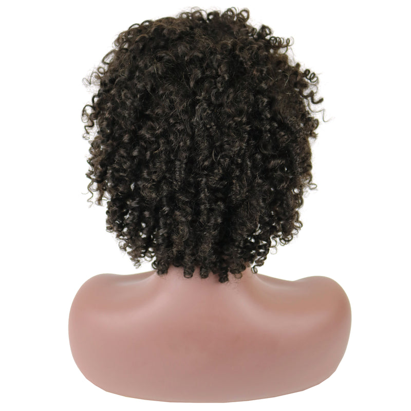 Bob Natural Black Kinky Curly Short African American Human Hair For Oval Face Lace Front Cap Wigs 10 Inches