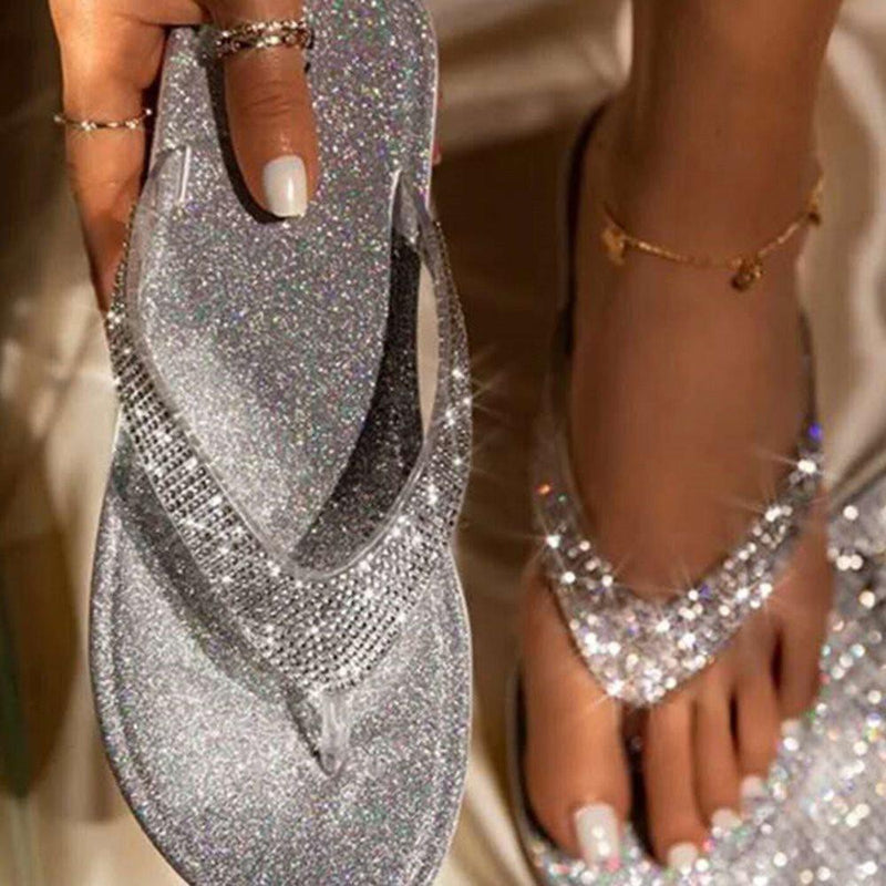Rhinestone Flat With Slip-On Thong Plain Rubber Slippers