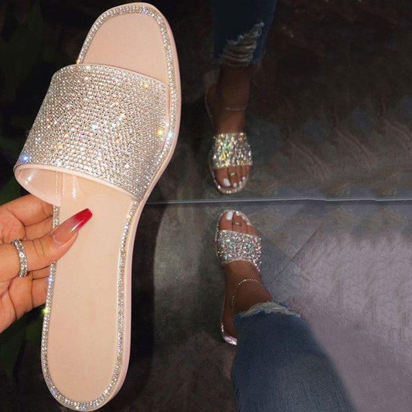 Flat With Slip-On Rhinestone Flip Flop Summer Casual Slippers
