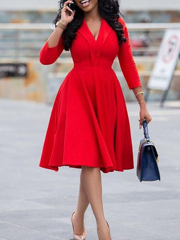 Three-Quarter Sleeve Mid-Calf V-Neck A-Line Red Women Dress