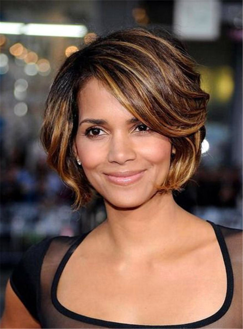 Halle Berry Short Layered Bob Straight Synthetic Hair With Bangs Capless Cap Wigs 8 Inches(No Picture Color Sale)