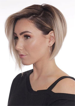 Shot Bob Hairstyle Women Wavy Lace Front Cap Synthetic Hair 10 Inches Wigs