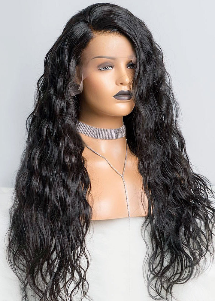 Synthetic Lace Front Wig side part Long Wavy wig Water Wave Soft Hair Natural Hairline Heat Resistant for Women's Long Wig Black Color