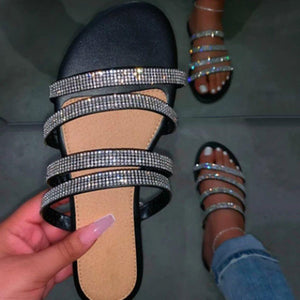 Rhinestone T-Straps Slip-On Flat With Summer Slippers