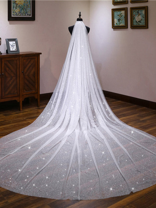 Exquisite Tulle Cathedral Wedding Veil With Sequins