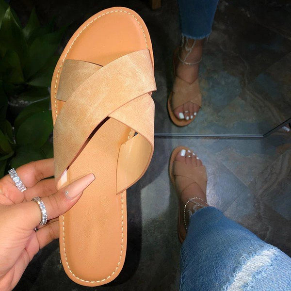 Cross Flat With Slip-On Beach Summer Slippers