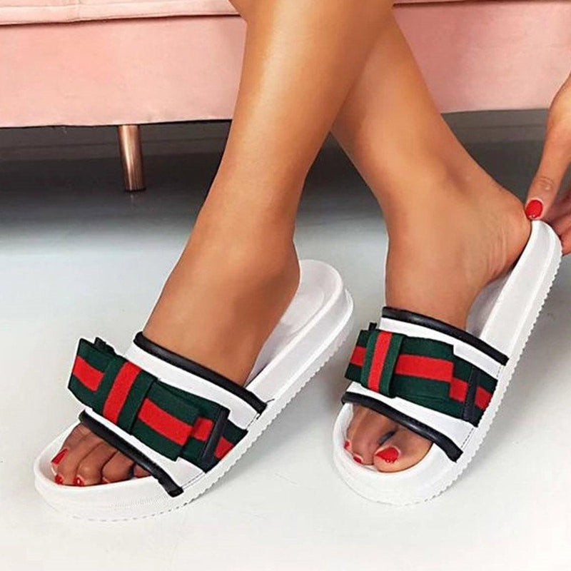 Flat With Bow Slip-On Flip Flop Casual PVC Slippers