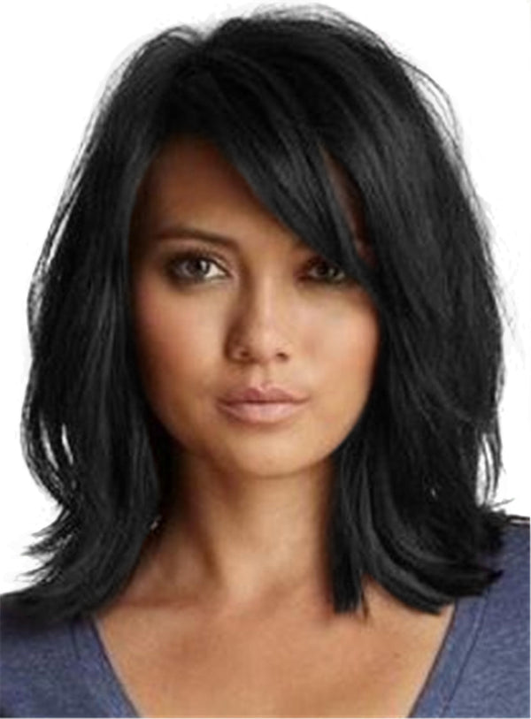 Medium Wave Synthetic Hair With Bangs Capless Wigs 14 Inches