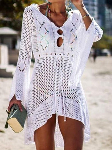 Women's Fashion Openwork Knit Beach Vacation Shirt Bikini Sunscreen Coat