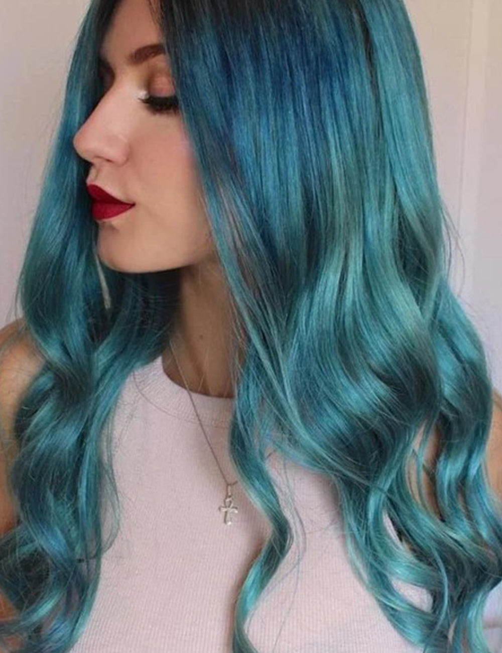 Blue Big Wavy Synthetic Hair Capless 26 Inches Wigs