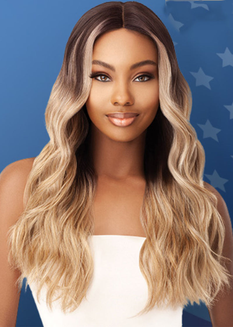 Natural Black To Brown Women's Ombre Color Body Wave Synthetic Hair Capless Wigs 26Inches
