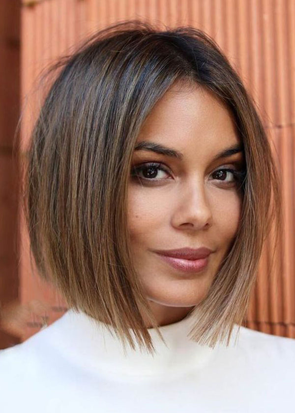 Women's Middle Part Straight Short Bob Hairstyles Natural Looking Synthetic Hair Capless Wigs 12Inch