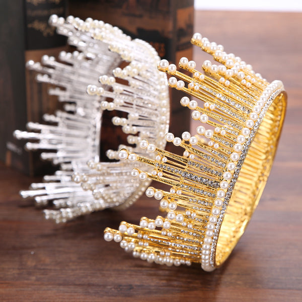 Baroque Full Circle Pearl Tiara Bridal Headdress Crown Hair Accessories