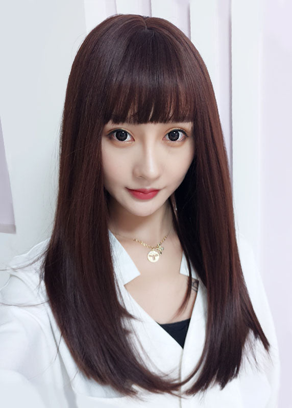 Synthetic Hair Capless Japanese Women Long Wigs with Bangs