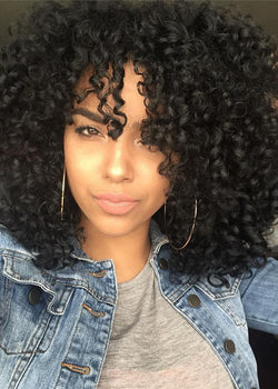Black Synthetic Hair Capless Women Afro Curly 16 Inches Wigs