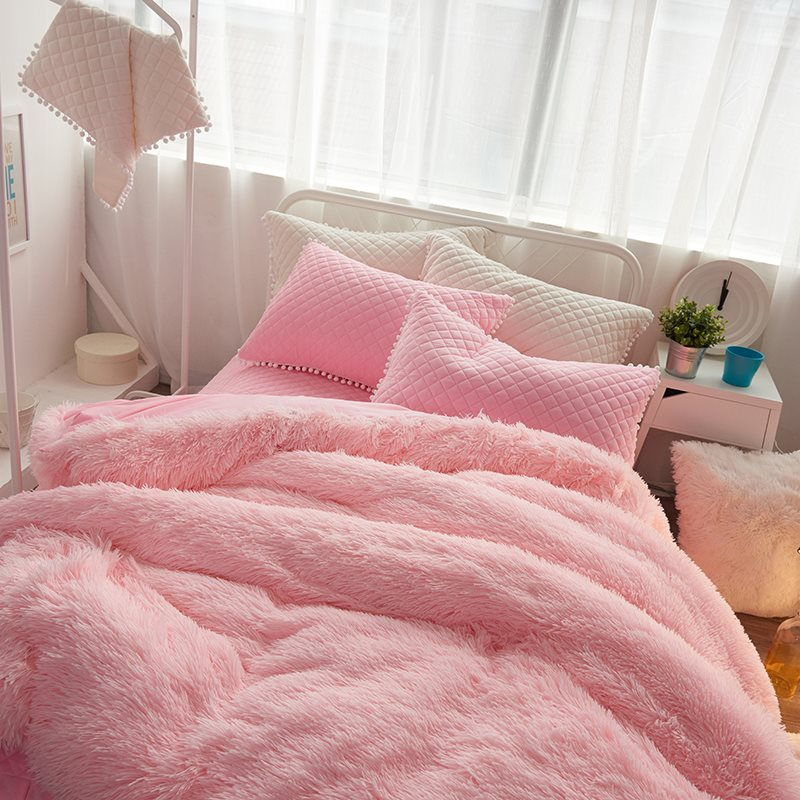 Pink Suede Duvet Cover Set Four-Piece Set For Baby Girl