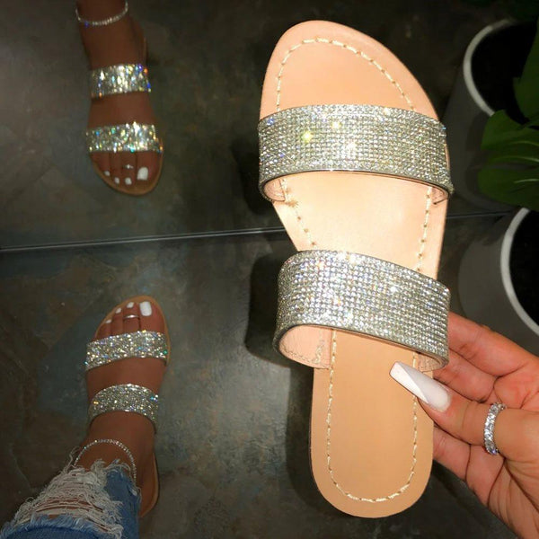 Slip-On Flip Flop Rhinestone Flat With Summer Rubber Slippers