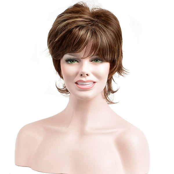 Women Synthetic Hair Capless Straight Short Wigs