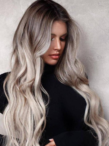 Women Wavy Synthetic Hair Lace Front Cap 26 Inches Ashy Blond  Wigs