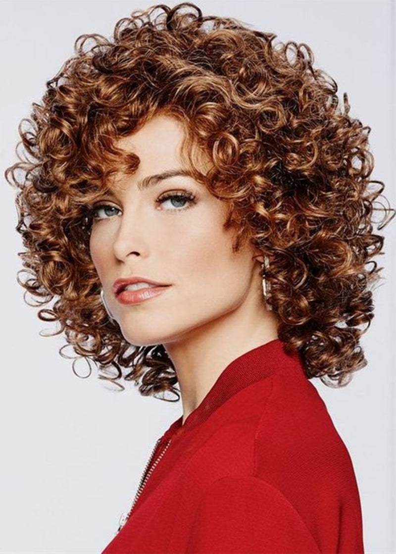 Dark Brown Short Kinky Curly Afro Synthetic Hair Wig Lace Front Wig 18inch