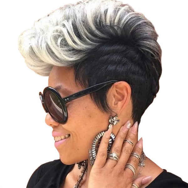 2019 Fashion Mother Wigs for Black Human Women Short Hair Wig