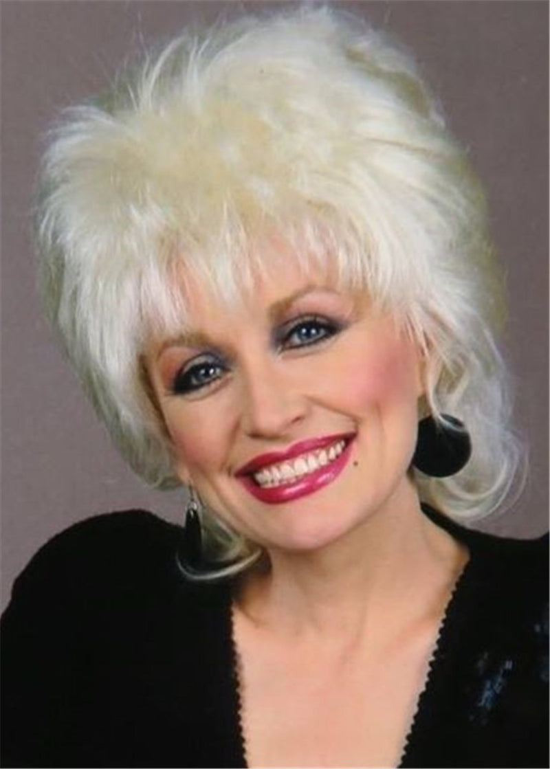 Dolly Parton Hairstyle Women Straight Synthetic Hair Lace Front Cap 10 Inches Wigs