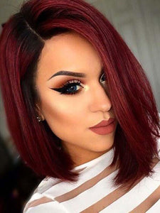 Straight Women Lace Front Cap Synthetic Hair 14 Inches Burgundy Bobo Wigs