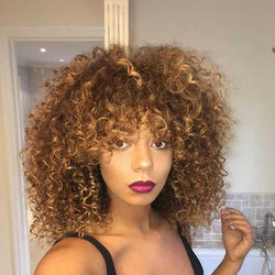Women Capless Afro Curly Synthetic Hair 14 Inches Wigs