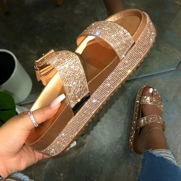 Slip-On Flip Flop Rhinestone Platform Plain Summer Slippers