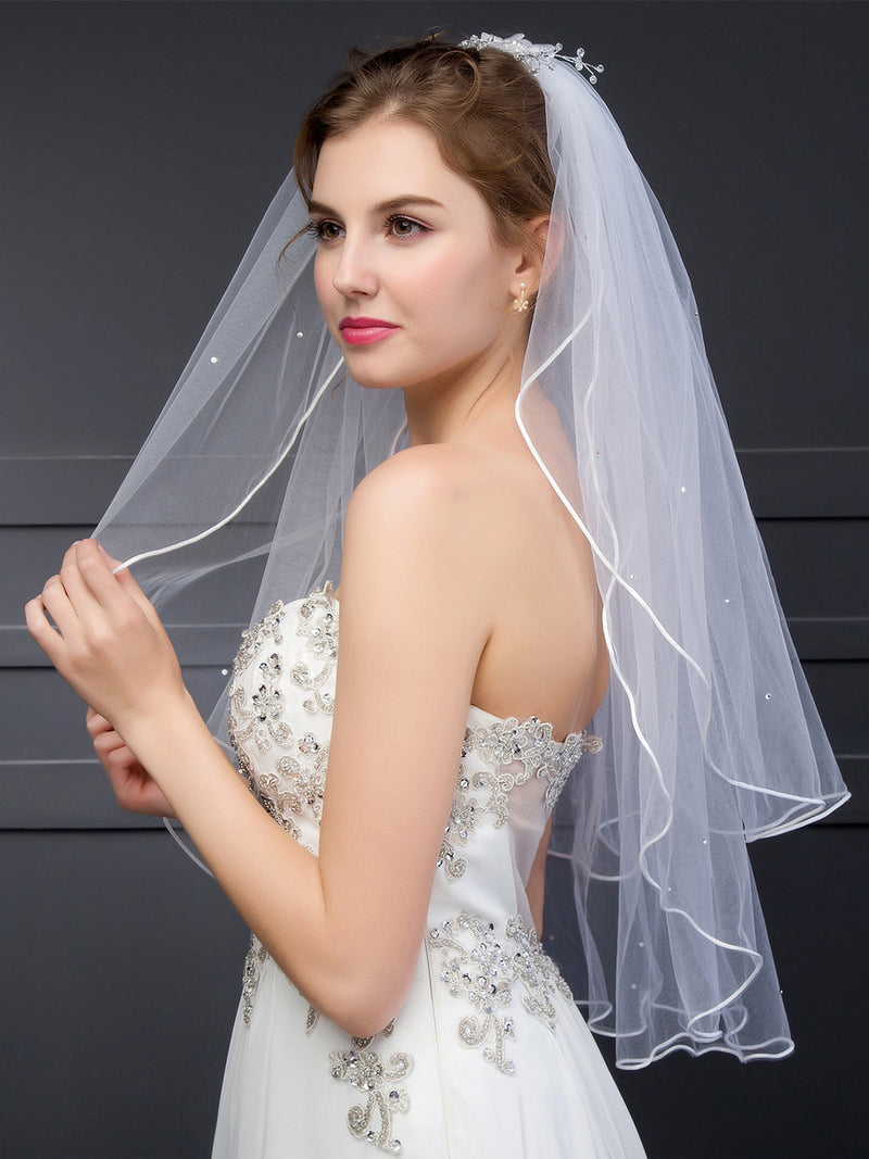 Two-Layer Tulle Wedding Veil With Comb