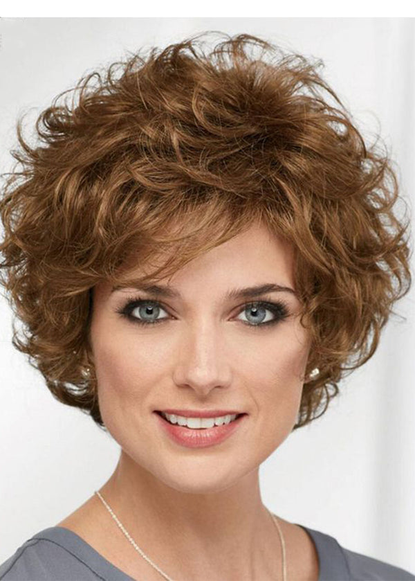 Short Layered Hairstyle Women's Natural Looking Brown Wavy Synthetic Hair Capless Wigs 14Inch