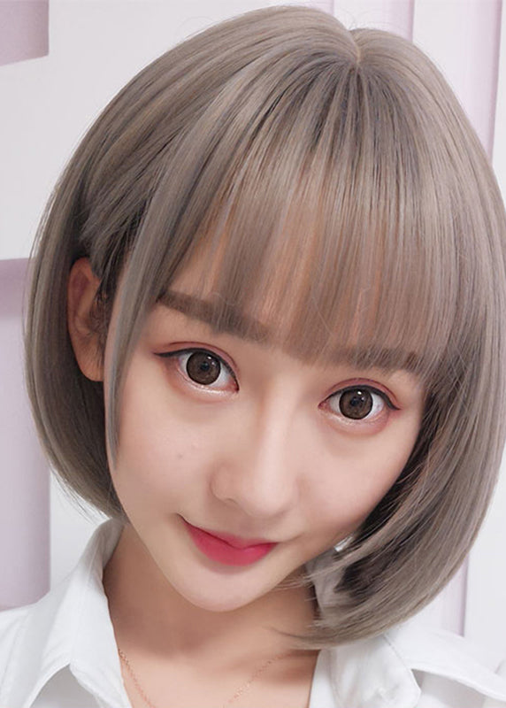 Synthetic Hair Women Silky Straight Wigs Gray Japanese Short Bob Wig